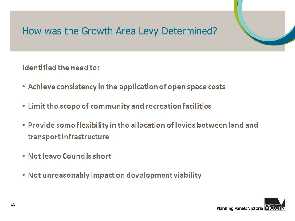 How was the Growth Area Levy Determined? 11 Identified the need to: Achieve consistency in the application of open space costs Limit the scope of comm