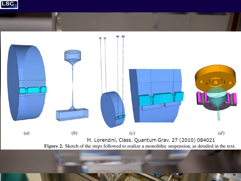 2/22/2011LIGO Hanford – Geppo Cagnoli – FS Suspensions 10 of 20 Virgo + monolithic suspensions Silica fibres haves been pulled with the CO 2 laser machine – Developed in Glasgow – Modified for Virgo by the Firenze Group: Matteo Lorenzini, Francesco Piergiovanni and Filippo Martelli M.