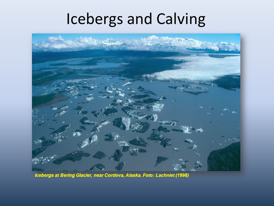 Icebergs and Calving Icebergs at Bering Glacier, near Cordova, Alaska. Foto: Lachniet (1998)