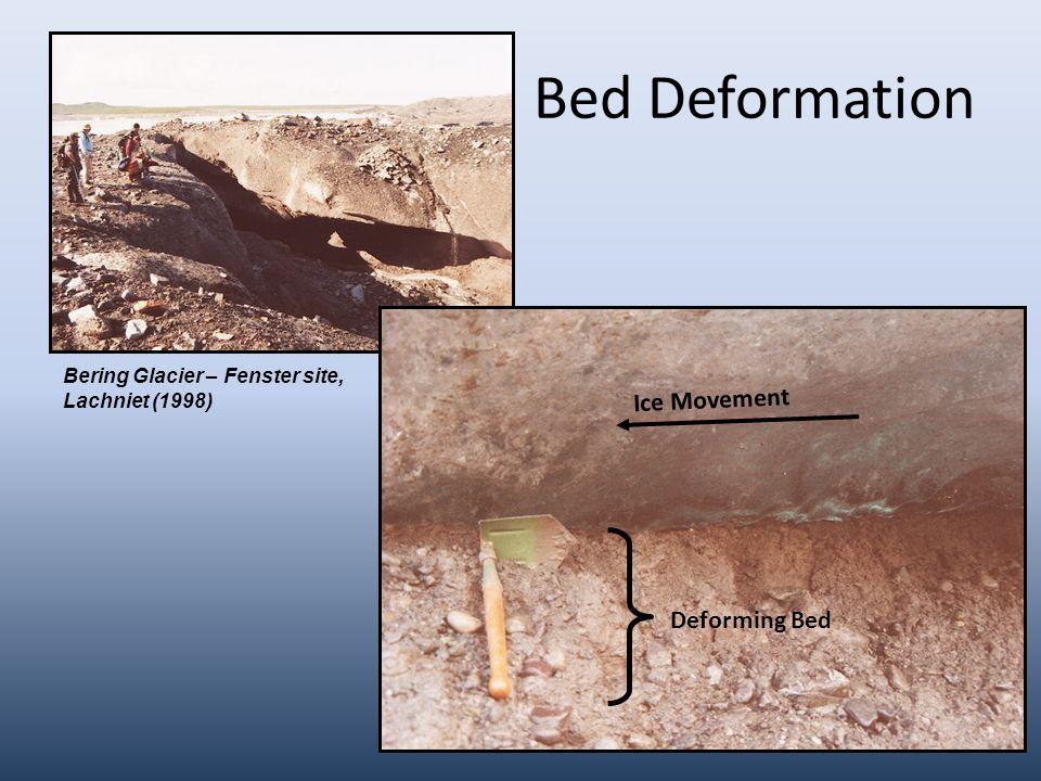 Bed Deformation Ice Movement Deforming Bed Bering Glacier – Fenster site, Lachniet (1998)