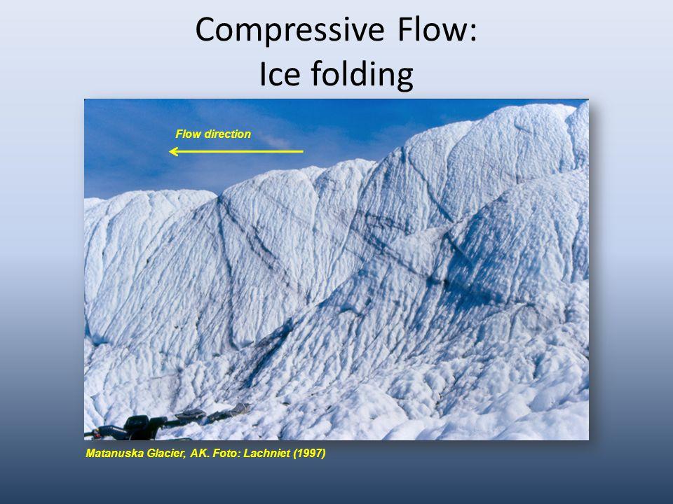 Compressive Flow: Ice folding Matanuska Glacier, AK. Foto: Lachniet (1997) Flow direction