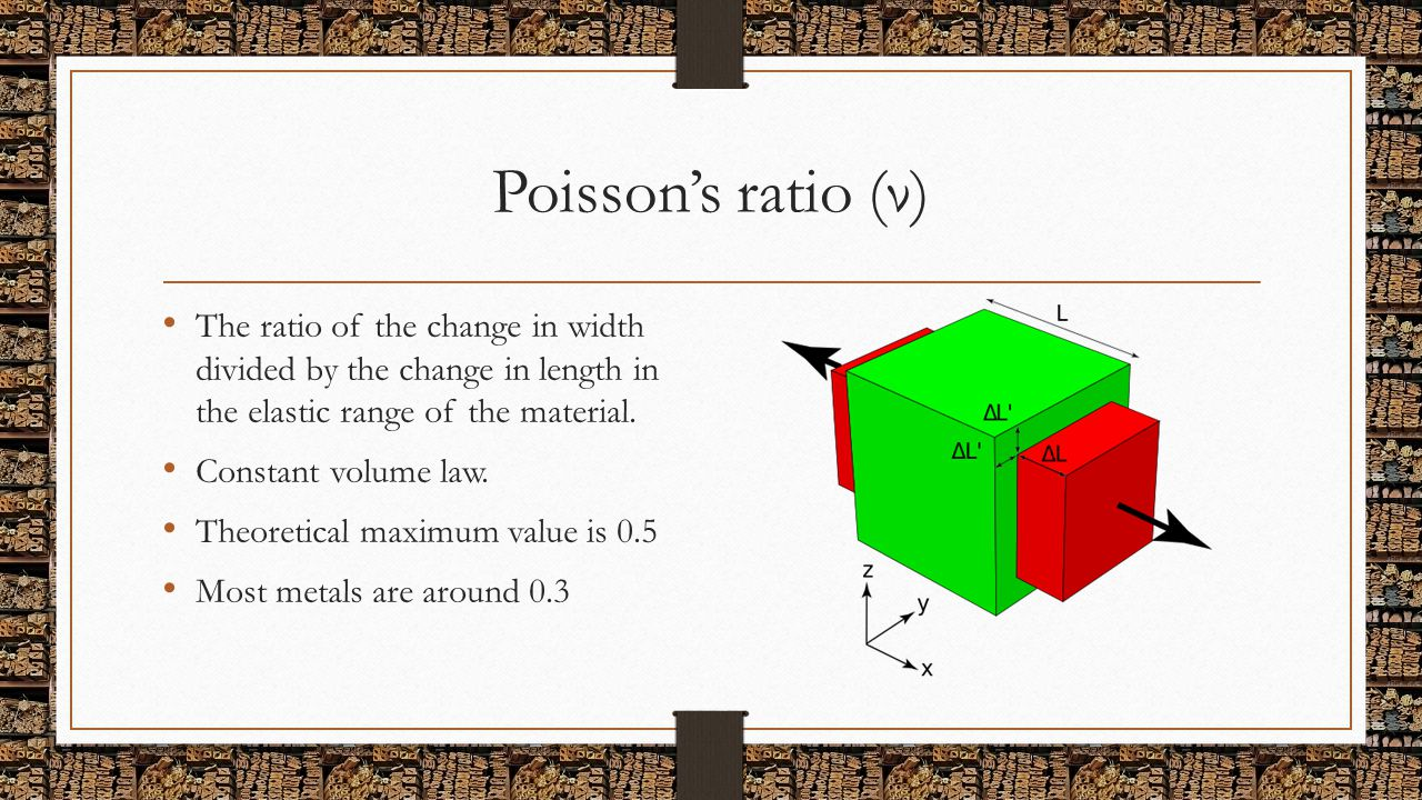 Poisson's ratio (ν) The ratio of the change in width divided by the change in length in the elastic range of the material. Constant volume law. Theore
