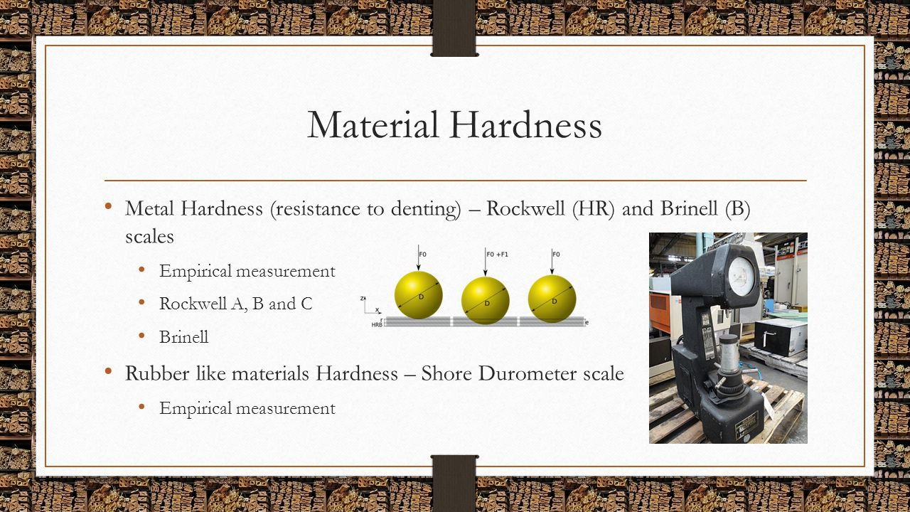 Material Hardness Metal Hardness (resistance to denting) – Rockwell (HR) and Brinell (B) scales Empirical measurement Rockwell A, B and C Brinell Rubb