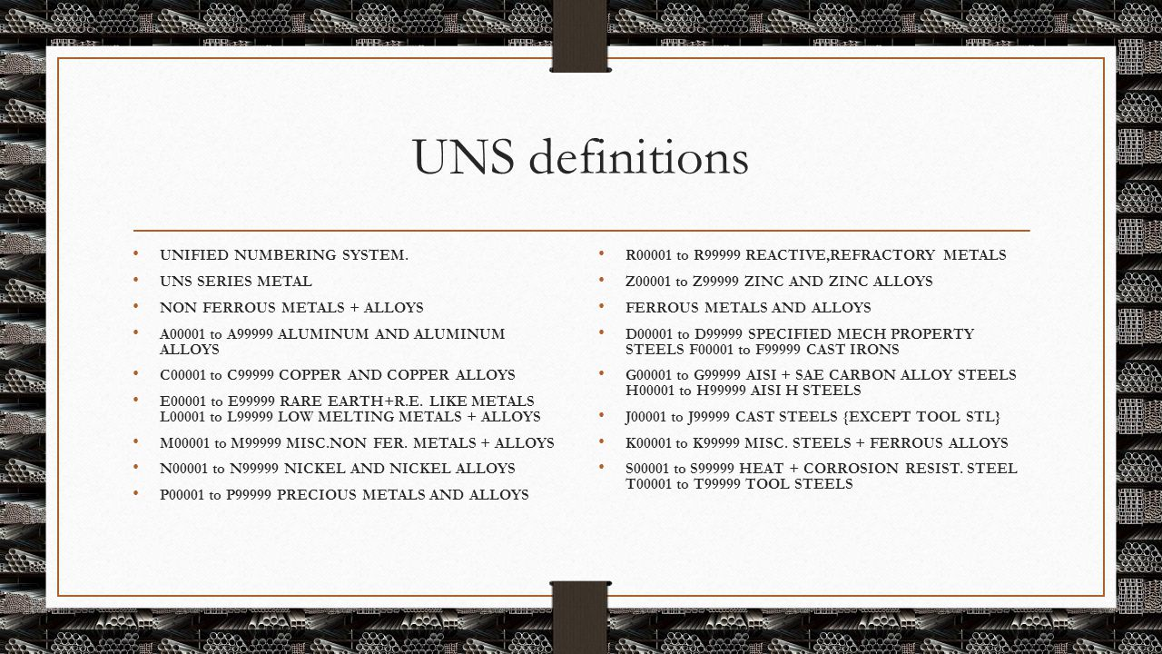 UNS definitions UNIFIED NUMBERING SYSTEM. UNS SERIES METAL NON FERROUS METALS + ALLOYS A00001 to A99999 ALUMINUM AND ALUMINUM ALLOYS C00001 to C99999