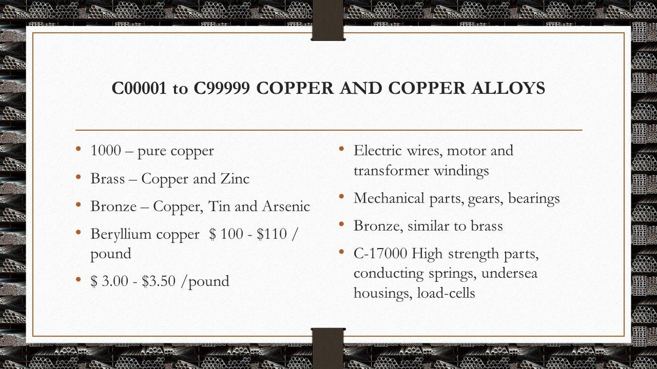 C00001 to C99999 COPPER AND COPPER ALLOYS 1000 – pure copper Brass – Copper and Zinc Bronze – Copper, Tin and Arsenic Beryllium copper $ 100 - $110 /