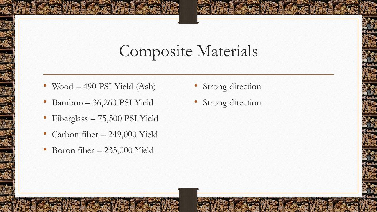 Composite Materials Wood – 490 PSI Yield (Ash) Bamboo – 36,260 PSI Yield Fiberglass – 75,500 PSI Yield Carbon fiber – 249,000 Yield Boron fiber – 235,