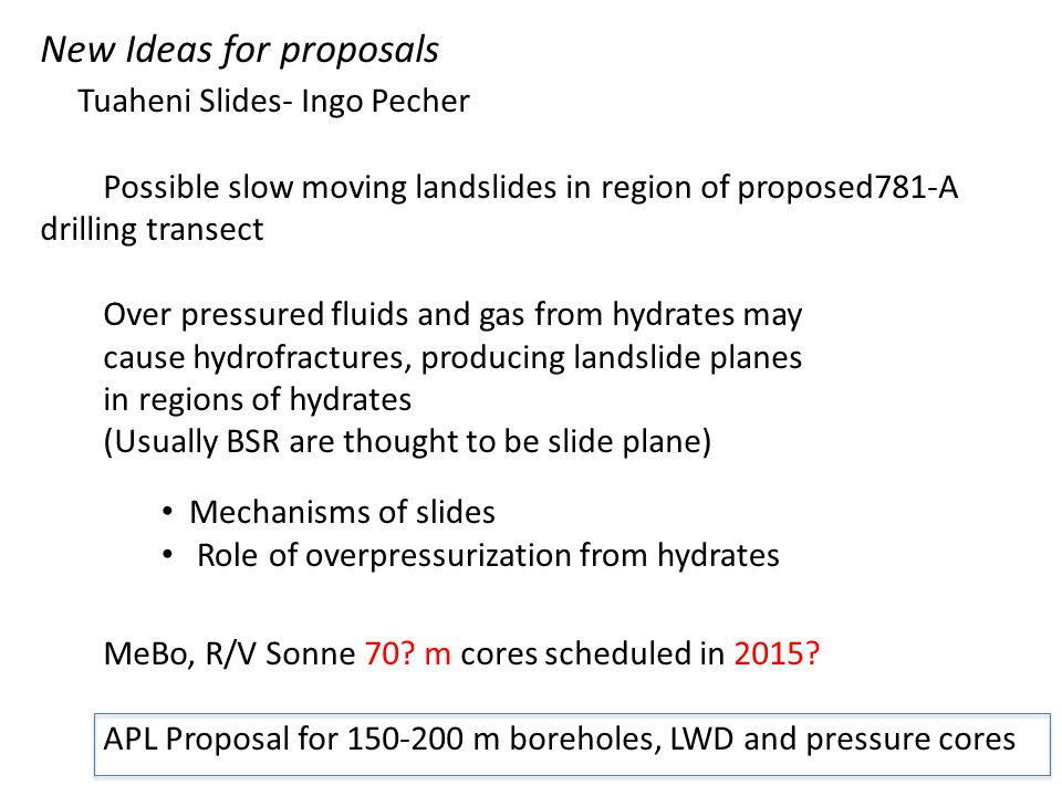 New Ideas for proposals Tuaheni Slides- Ingo Pecher Possible slow moving landslides in region of proposed781-A drilling transect Over pressured fluids and gas from hydrates may cause hydrofractures, producing landslide planes in regions of hydrates (Usually BSR are thought to be slide plane) MeBo, R/V Sonne 70.
