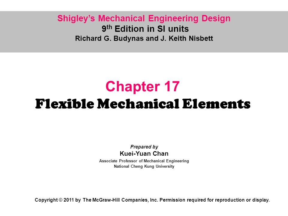 17 Flexible Mechanical Elements Chapter Outline 17-1Belts 17-2Flat- and Round-Belt Drives 17-3V Belts 17-4Timing Belts 17-5Roller Chain 17-6Wire Rope 17-7Flexible Shafts
