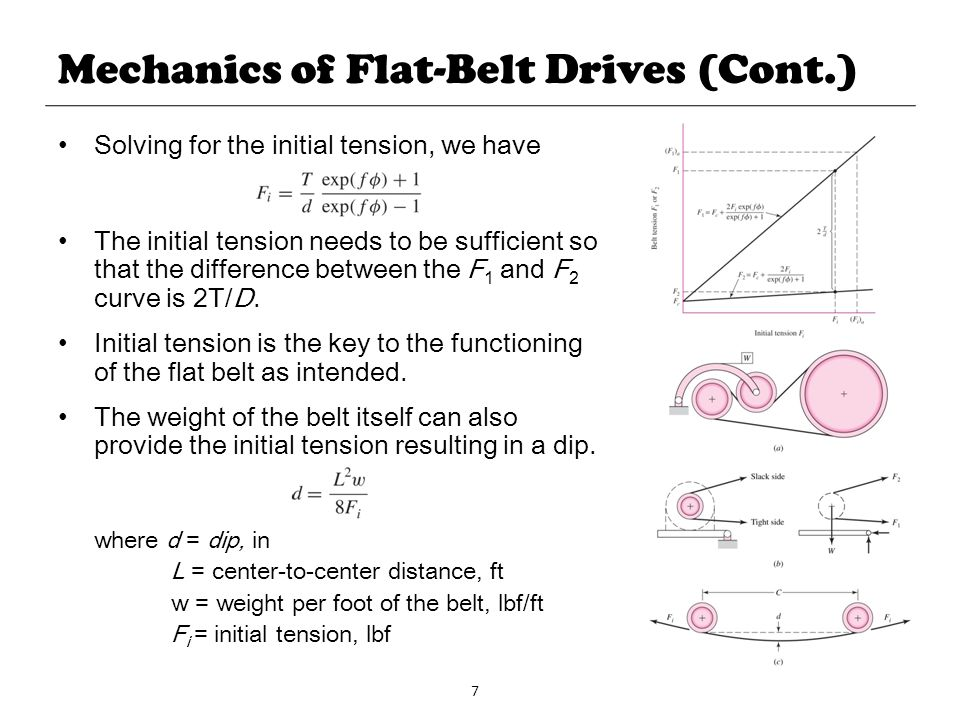 7 Mechanics of Flat-Belt Drives (Cont.) Solving for the initial tension, we have The initial tension needs to be sufficient so that the difference bet