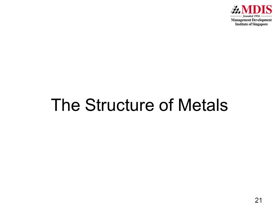 The Structure of Metals 21