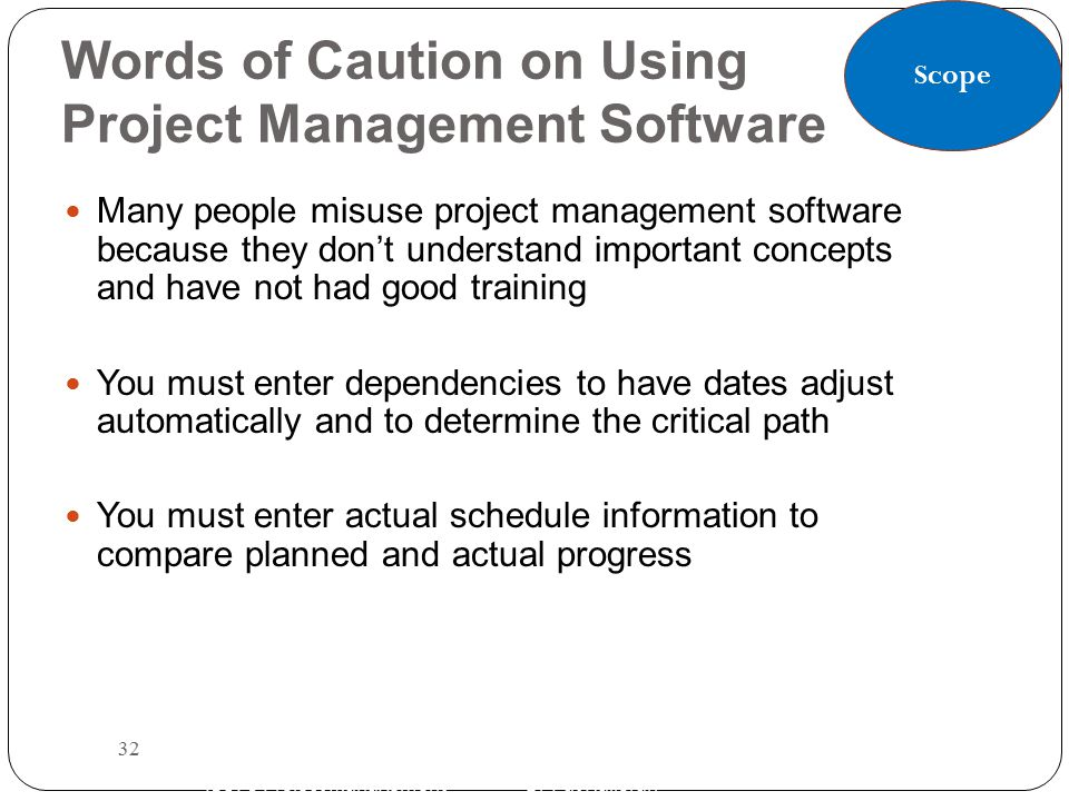 Words of Caution on Using Project Management Software Many people misuse project management software because they don't understand important concepts