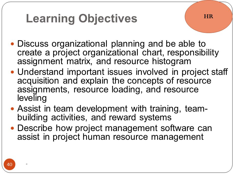 Learning Objectives - 40 Discuss organizational planning and be able to create a project organizational chart, responsibility assignment matrix, and r