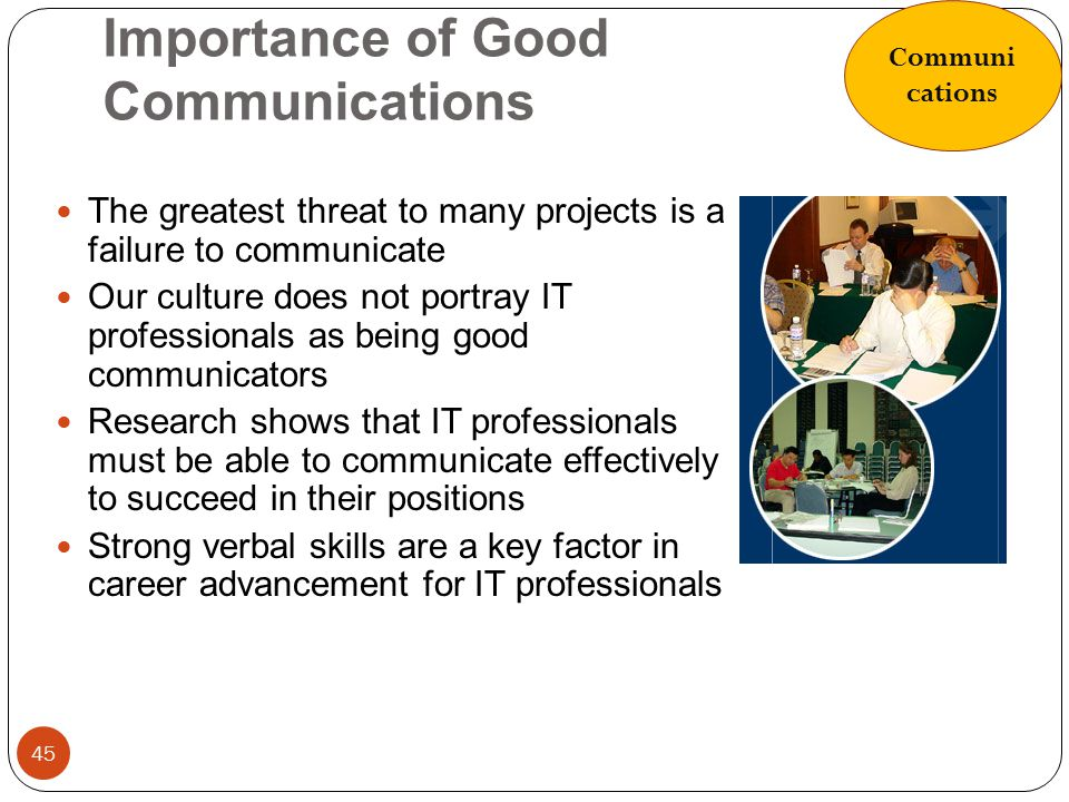 Importance of Good Communications 45 The greatest threat to many projects is a failure to communicate Our culture does not portray IT professionals as
