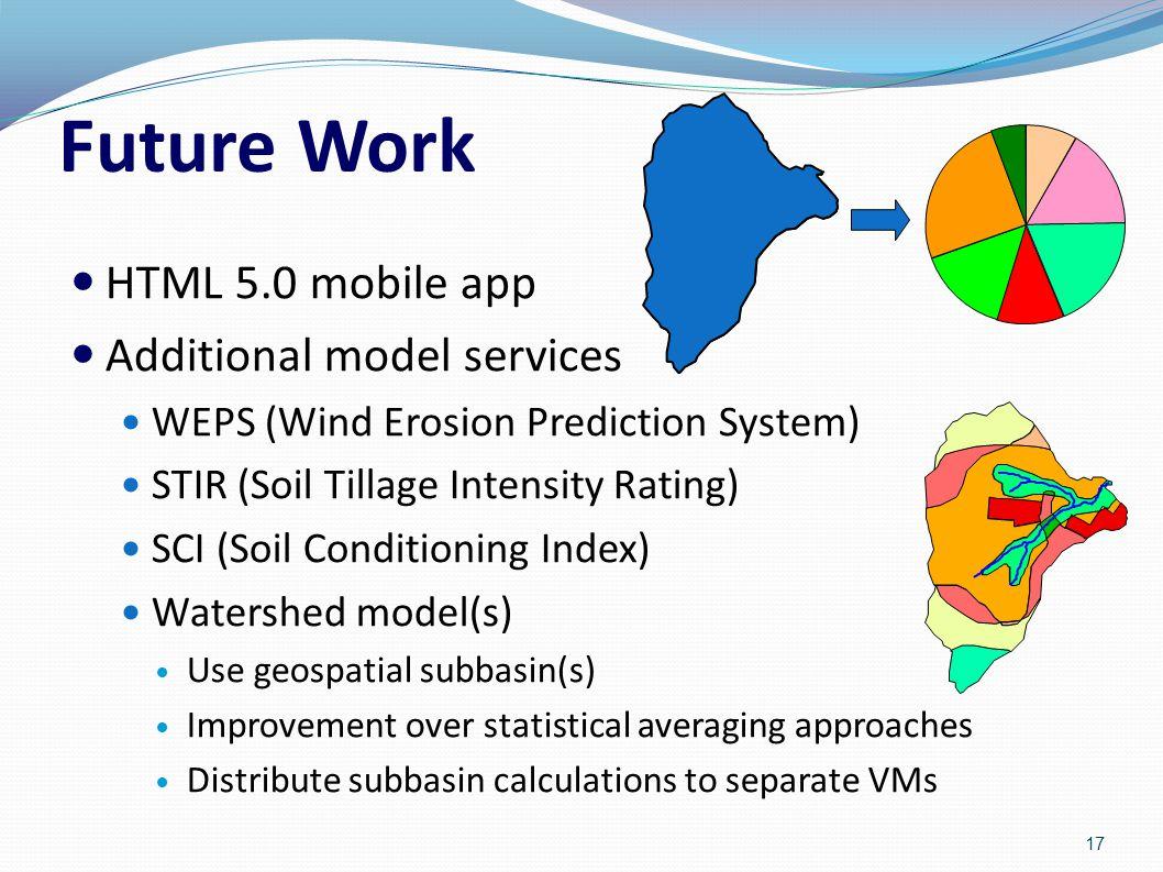 Future Work HTML 5.0 mobile app Additional model services WEPS (Wind Erosion Prediction System) STIR (Soil Tillage Intensity Rating) SCI (Soil Conditi