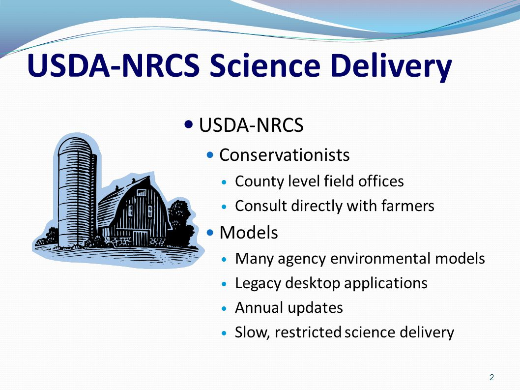USDA-NRCS Science Delivery USDA-NRCS Conservationists County level field offices Consult directly with farmers Models Many agency environmental models