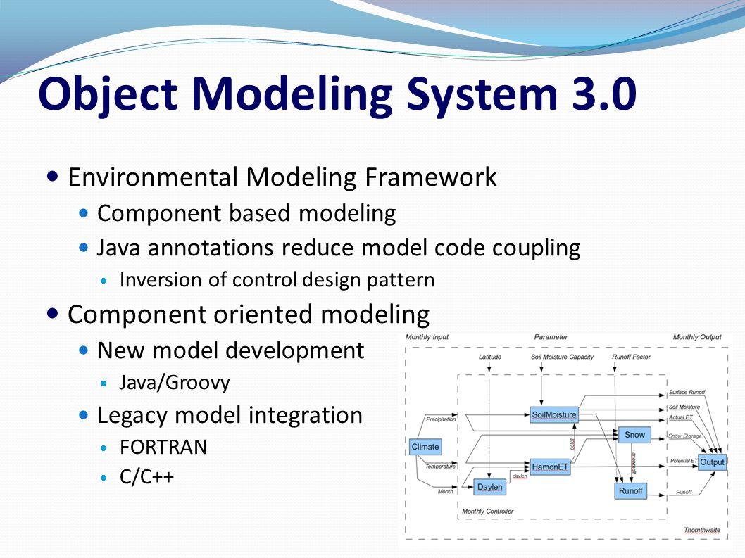 Object Modeling System 3.0 Environmental Modeling Framework Component based modeling Java annotations reduce model code coupling Inversion of control