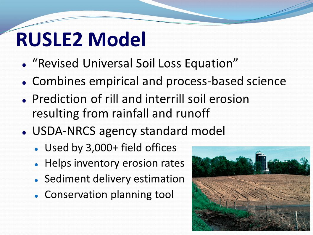 Wind Erosion Prediction System (WEPS) Soil loss estimation based on weather and field conditions Models environmental concerns Creep/saltation, suspension, particulate matter USDA-NRCS agency standard model Process-based daily time step → 150 years Used by 3,000+ field offices Erosion control simulation Conservation planning tool 7