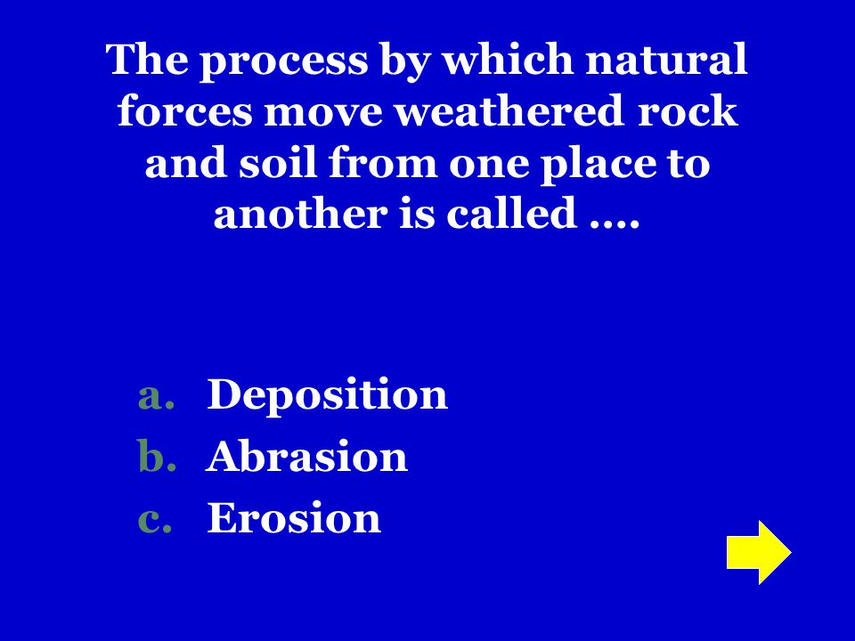 200 300 400 500 600 100 JEOPARDY! Earth's Surface Water Erosion Moving Water GlaciersWavesWind
