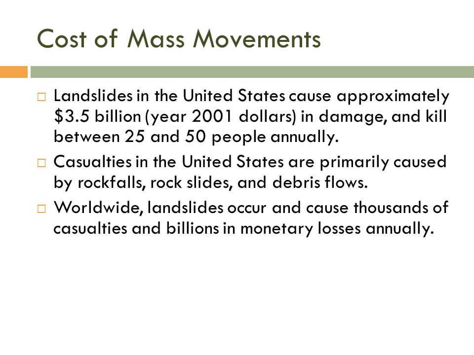 Cost of Mass Movements  Landslides in the United States cause approximately $3.5 billion (year 2001 dollars) in damage, and kill between 25 and 50 pe