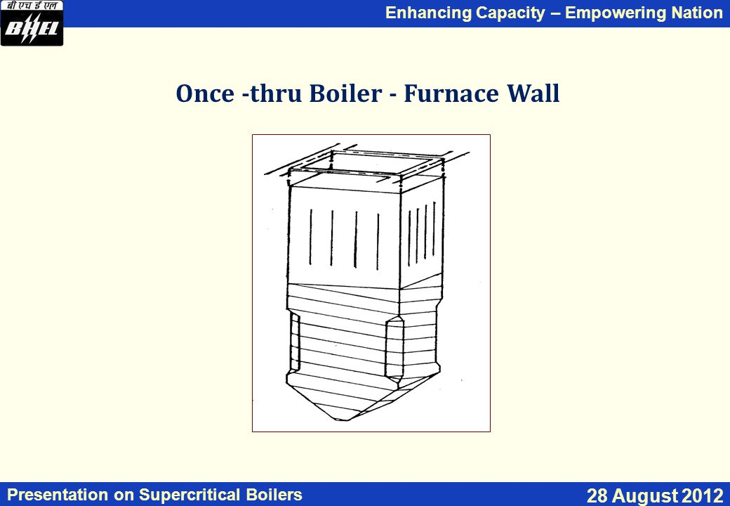 Enhancing Capacity – Empowering Nation Presentation on Supercritical Boilers 28 August 2012 Once -thru Boiler - Furnace Wall