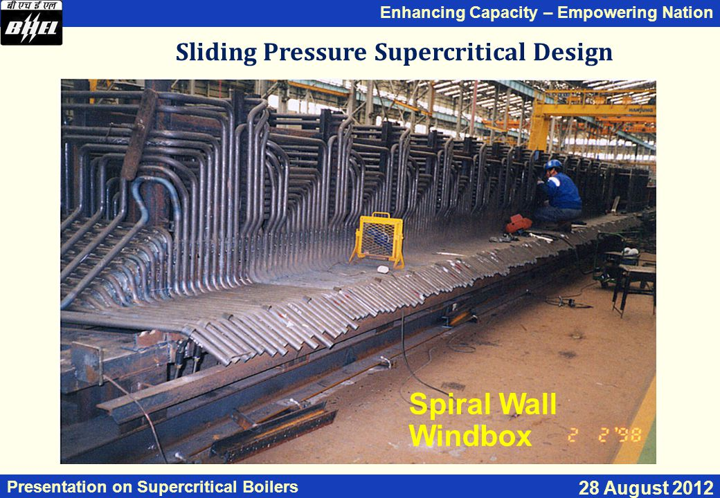Enhancing Capacity – Empowering Nation Presentation on Supercritical Boilers 28 August 2012 Sliding Pressure Supercritical Design Spiral Wall Windbox