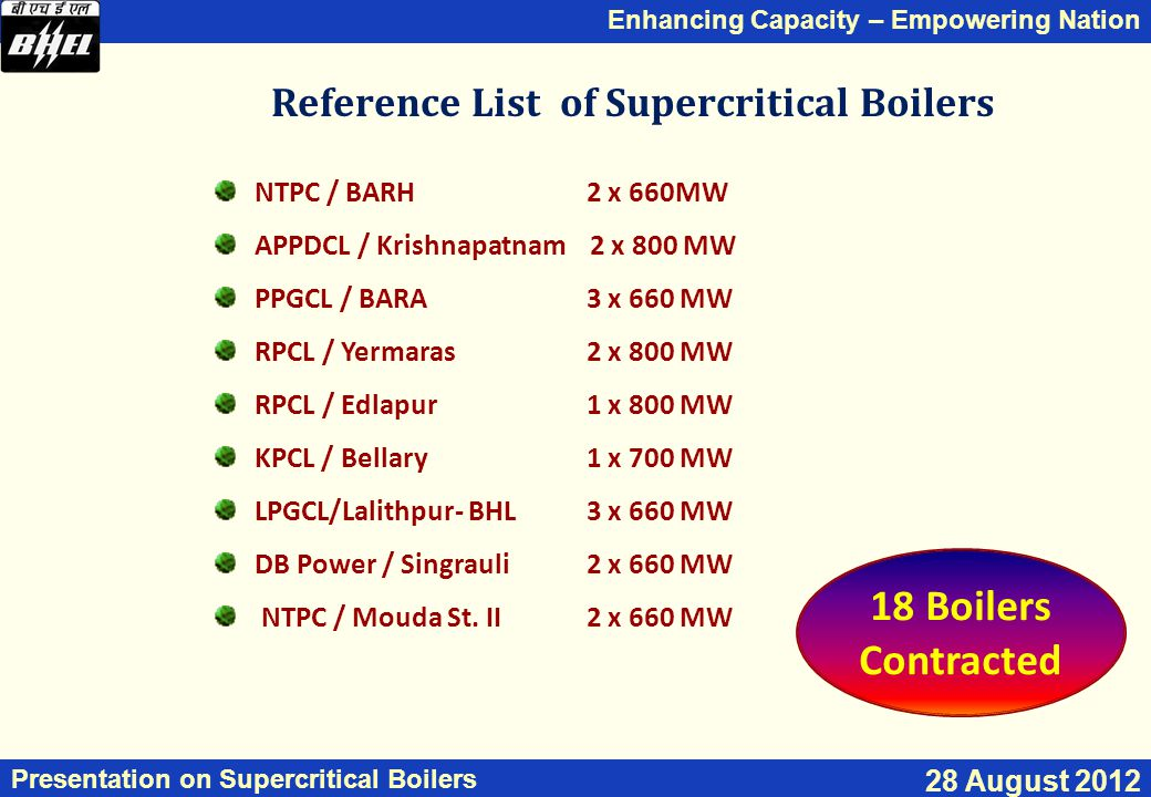 Enhancing Capacity – Empowering Nation Presentation on Supercritical Boilers 28 August 2012 Reference List of Supercritical Boilers NTPC / BARH 2 x 66