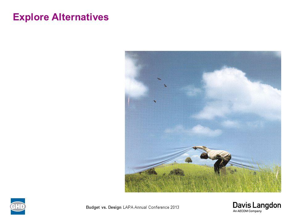 Explore Alternatives Budget vs. Design LAPA Annual Conference 2013