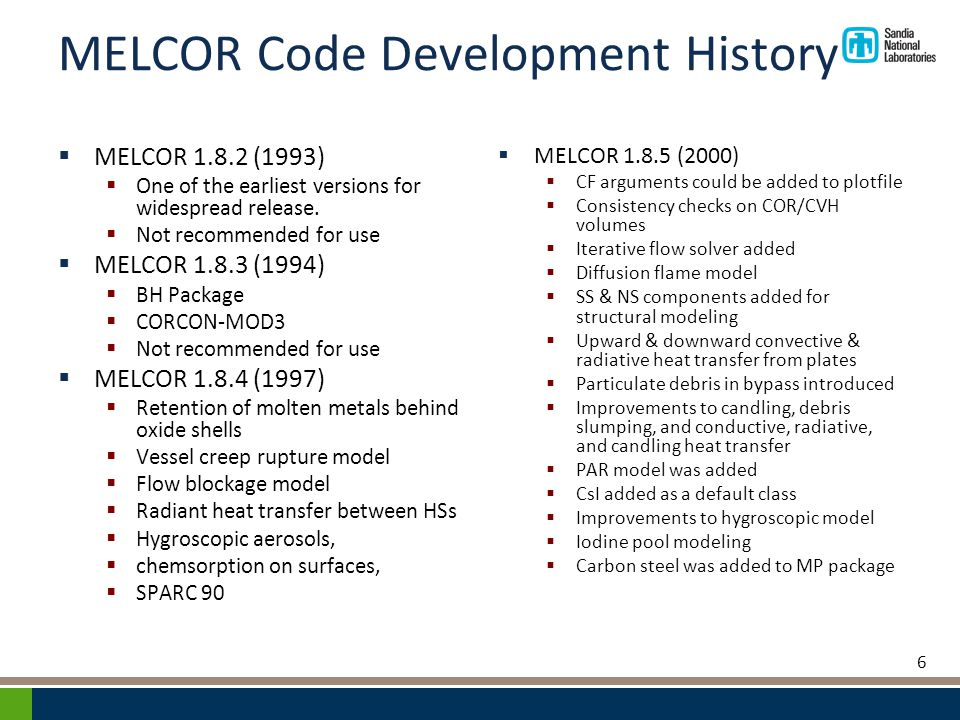 MELCOR Code Development History  MELCOR 1.8.2 (1993)  One of the earliest versions for widespread release.