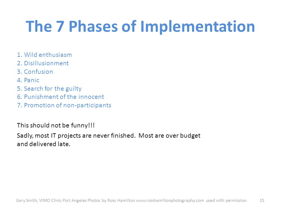 The 7 Phases of Implementation 1. Wild enthusiasm 2.
