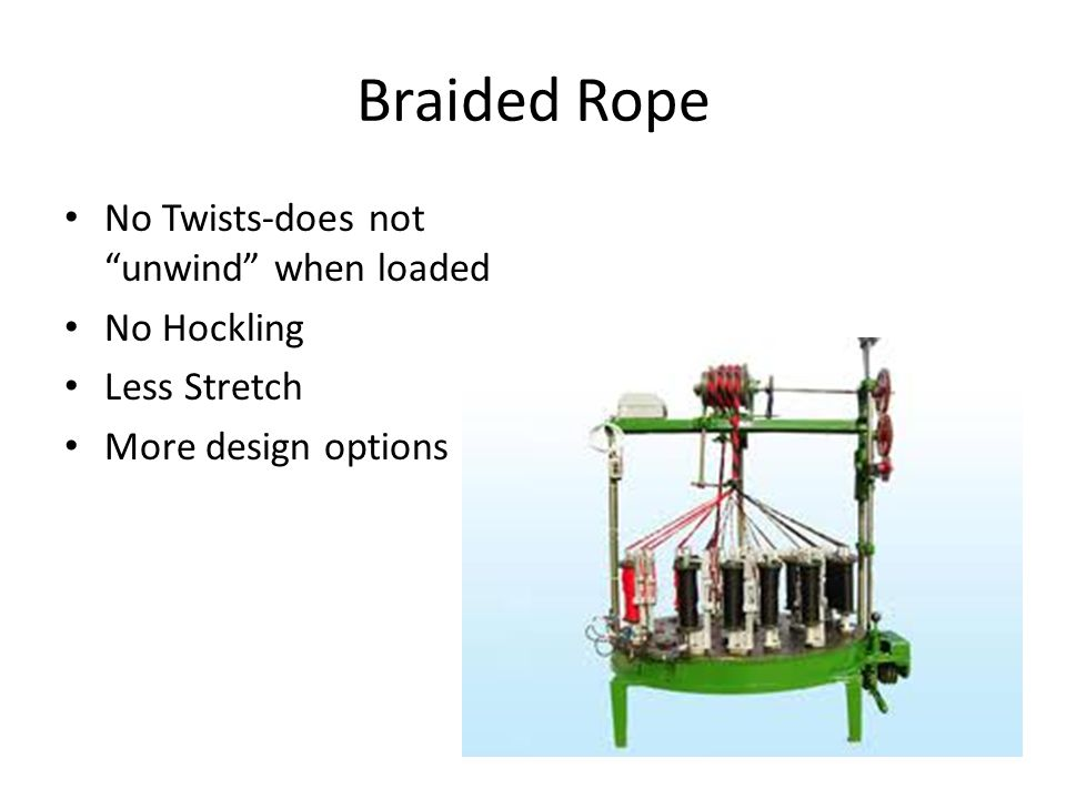 Braided Rope No Twists-does not unwind when loaded No Hockling Less Stretch More design options