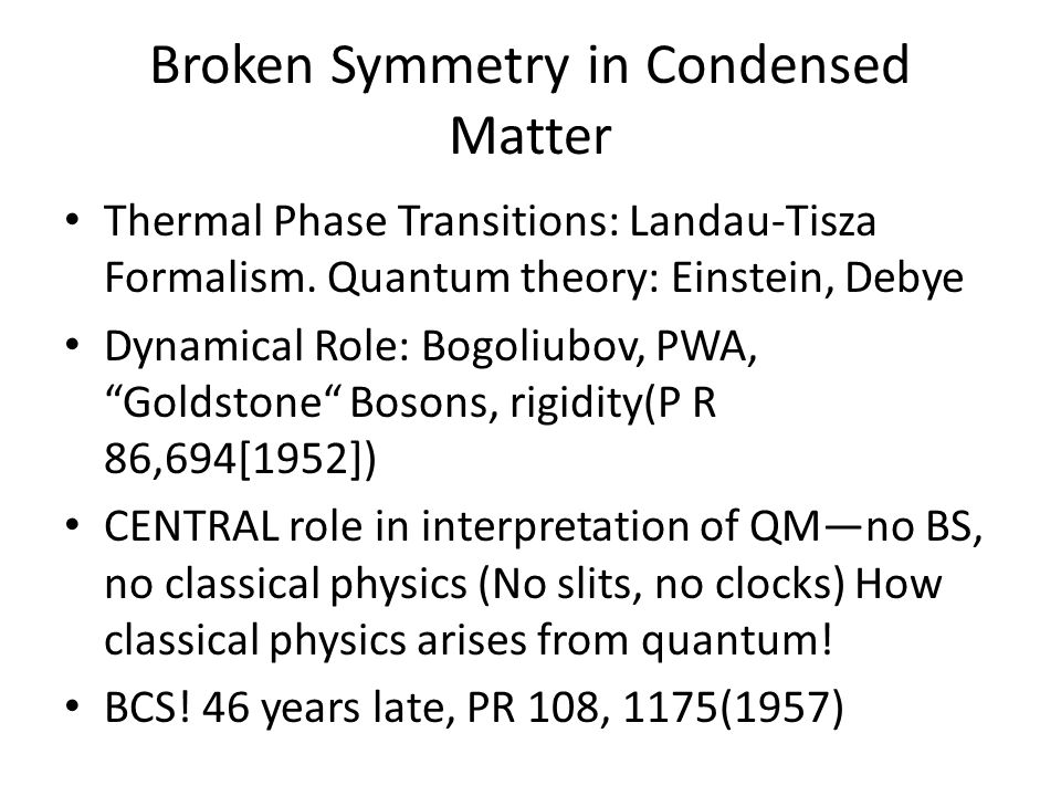 Broken Symmetry in Condensed Matter Thermal Phase Transitions: Landau-Tisza Formalism.
