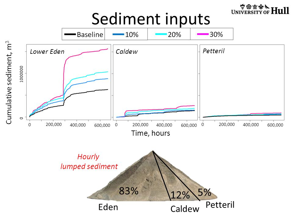 Sediment inputs Cumulative sediment, m 3 0 1000000 0 200,000 400,000 600,000 0 200,000 400,000 600,000 0 200,000 400,000 600,000 Time, hours Petteril Caldew Lower Eden 83% 12% 5% Eden Caldew Petteril Hourly lumped sediment