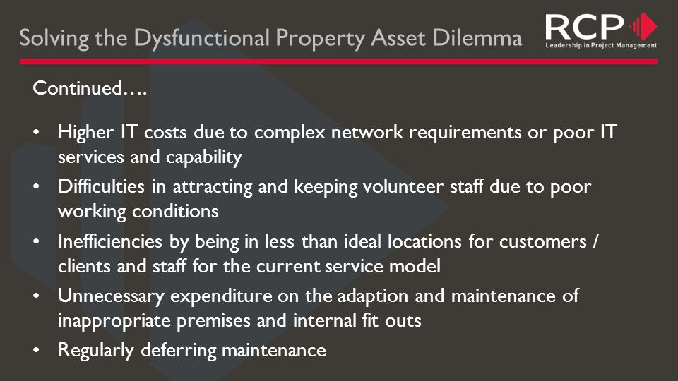Solving the Dysfunctional Property Asset Dilemma Continued….