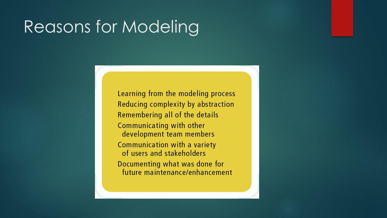 Reasons for Modeling