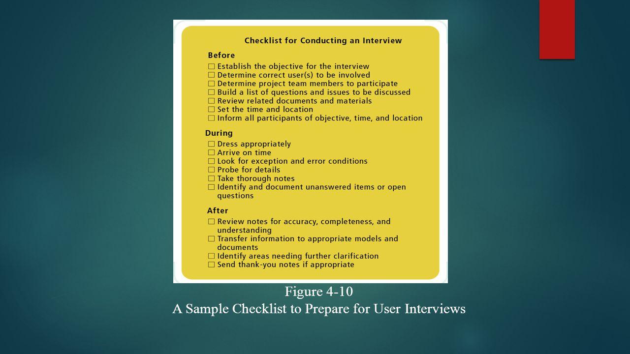 Figure 4-10 A Sample Checklist to Prepare for User Interviews