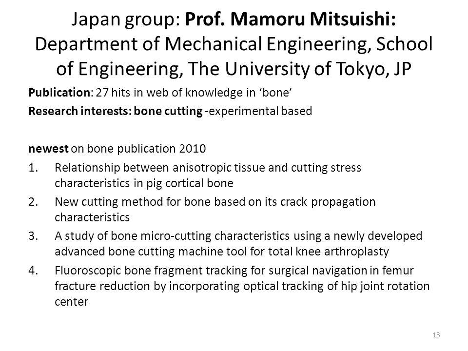 Japan group: Prof. Mamoru Mitsuishi: Department of Mechanical Engineering, School of Engineering, The University of Tokyo, JP Publication: 27 hits in