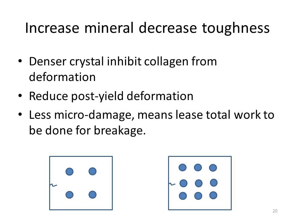 Increase mineral decrease toughness Denser crystal inhibit collagen from deformation Reduce post-yield deformation Less micro-damage, means lease tota