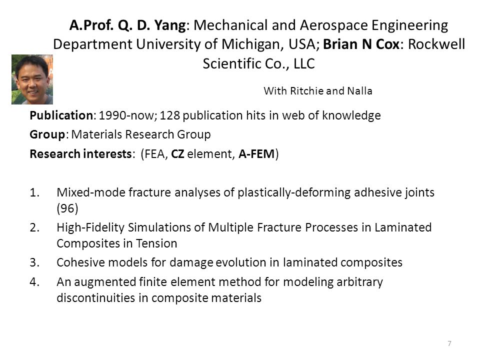 A.Prof. Q. D. Yang: Mechanical and Aerospace Engineering Department University of Michigan, USA; Brian N Cox: Rockwell Scientific Co., LLC Publication