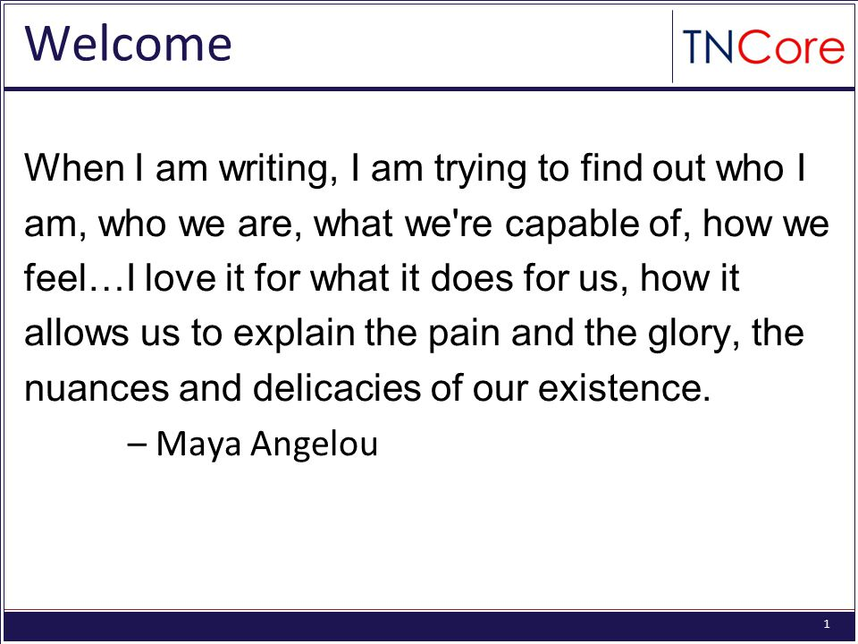 1 Welcome When I am writing, I am trying to find out who I am, who we are, what we re capable of, how we feel…I love it for what it does for us, how it allows us to explain the pain and the glory, the nuances and delicacies of our existence.