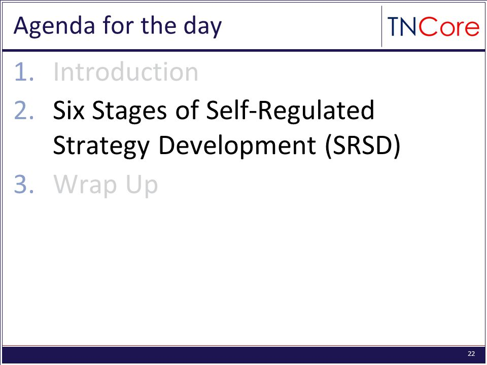 22 Agenda for the day 1.Introduction 2.Six Stages of Self-Regulated Strategy Development (SRSD) 3.Wrap Up