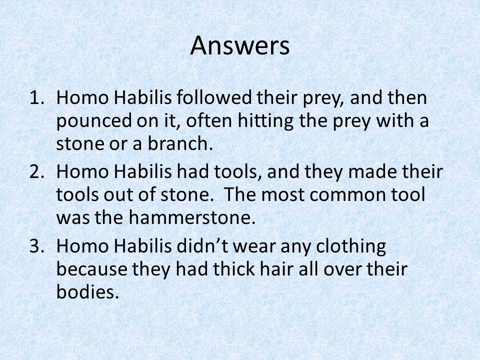 Questions 1.How did Homo Habilis get meat.2.Did Homo Habilis use tools.
