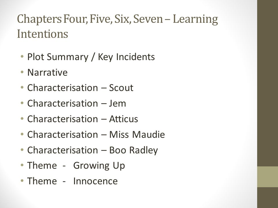 Chapters Four, Five, Six, Seven – Learning Intentions Plot Summary / Key Incidents Narrative Characterisation – Scout Characterisation – Jem Characterisation – Atticus Characterisation – Miss Maudie Characterisation – Boo Radley Theme - Growing Up Theme - Innocence