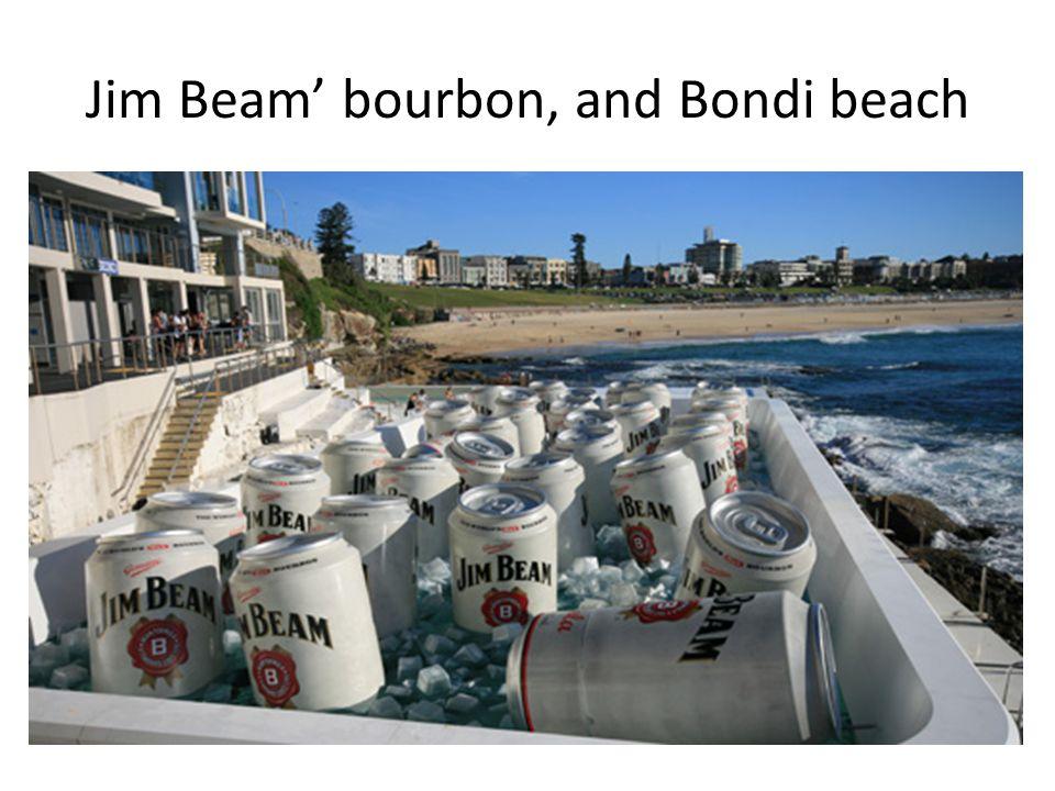 Jim Beam' bourbon, and Bondi beach