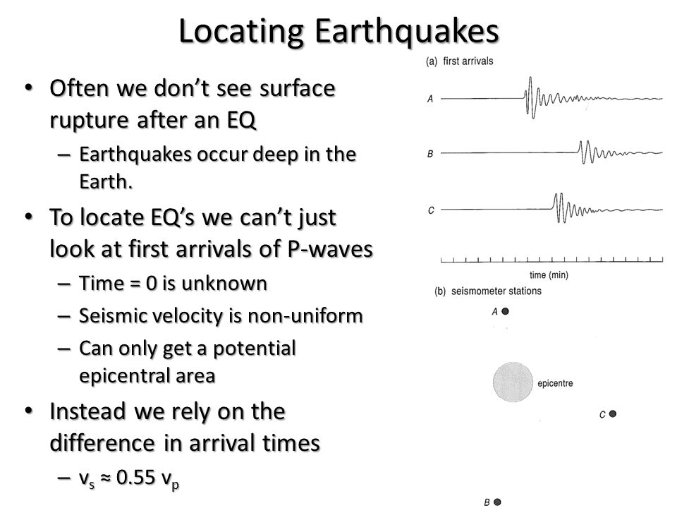 Locating Earthquakes Often we don't see surface rupture after an EQ Often we don't see surface rupture after an EQ – Earthquakes occur deep in the Ear