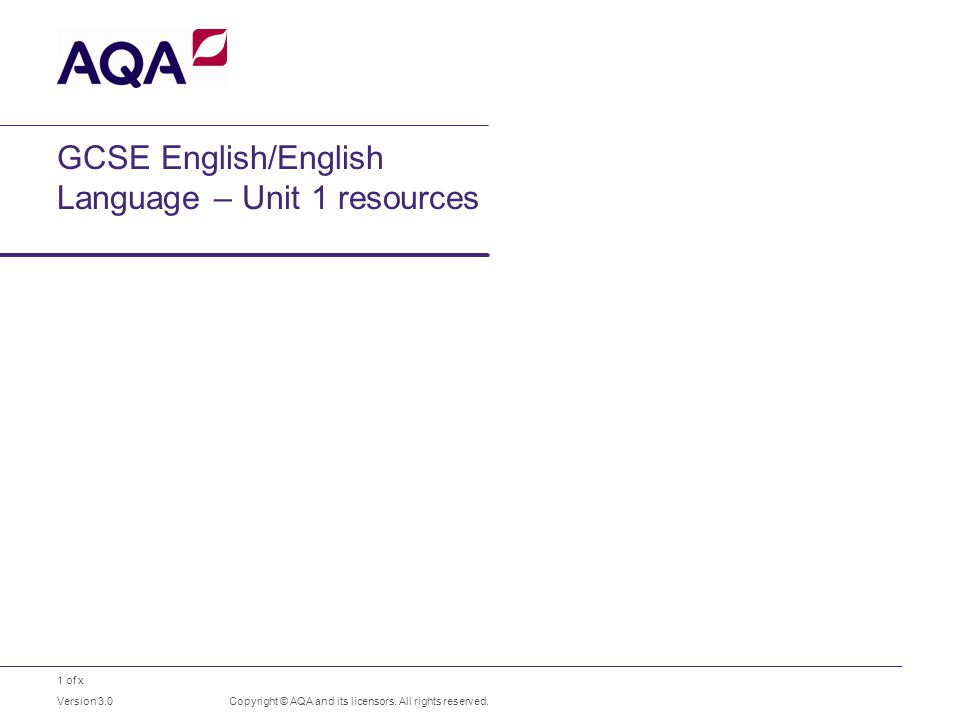 1 of x GCSE English/English Language – Unit 1 resources Copyright © AQA and its licensors.
