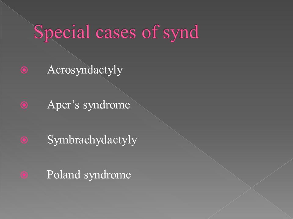  Acrosyndactyly  Aper's syndrome  Symbrachydactyly  Poland syndrome