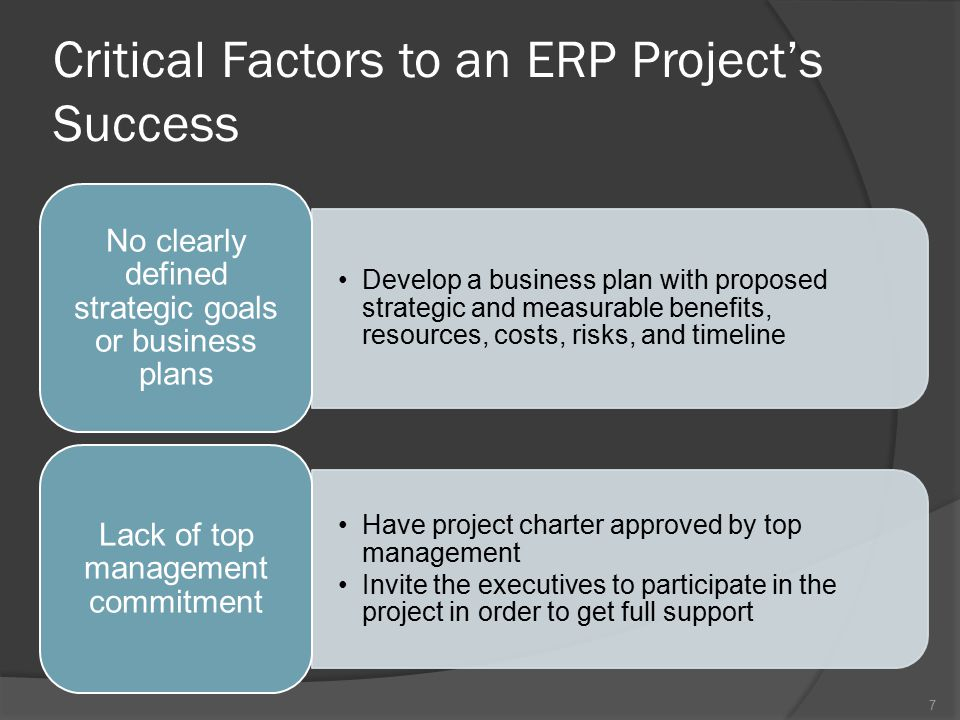 Critical Factors to an ERP Project's Success Develop a business plan with proposed strategic and measurable benefits, resources, costs, risks, and timeline No clearly defined strategic goals or business plans Have project charter approved by top management Invite the executives to participate in the project in order to get full support Lack of top management commitment 7