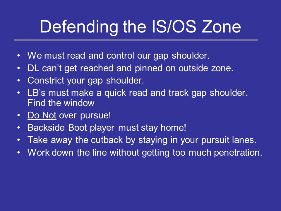 Defending the IS/OS Zone We must read and control our gap shoulder. DL can't get reached and pinned on outside zone. Constrict your gap shoulder. LB's