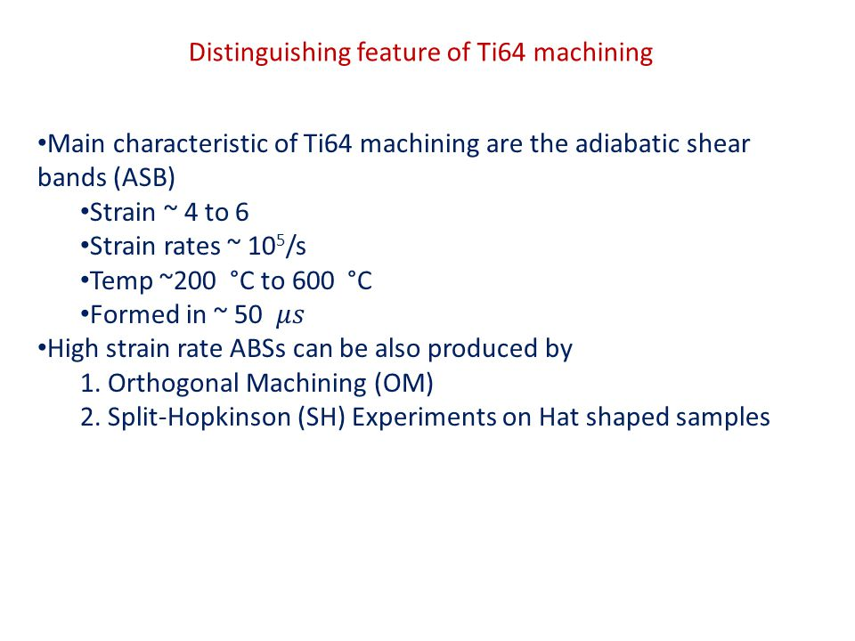 Distinguishing feature of Ti64 machining