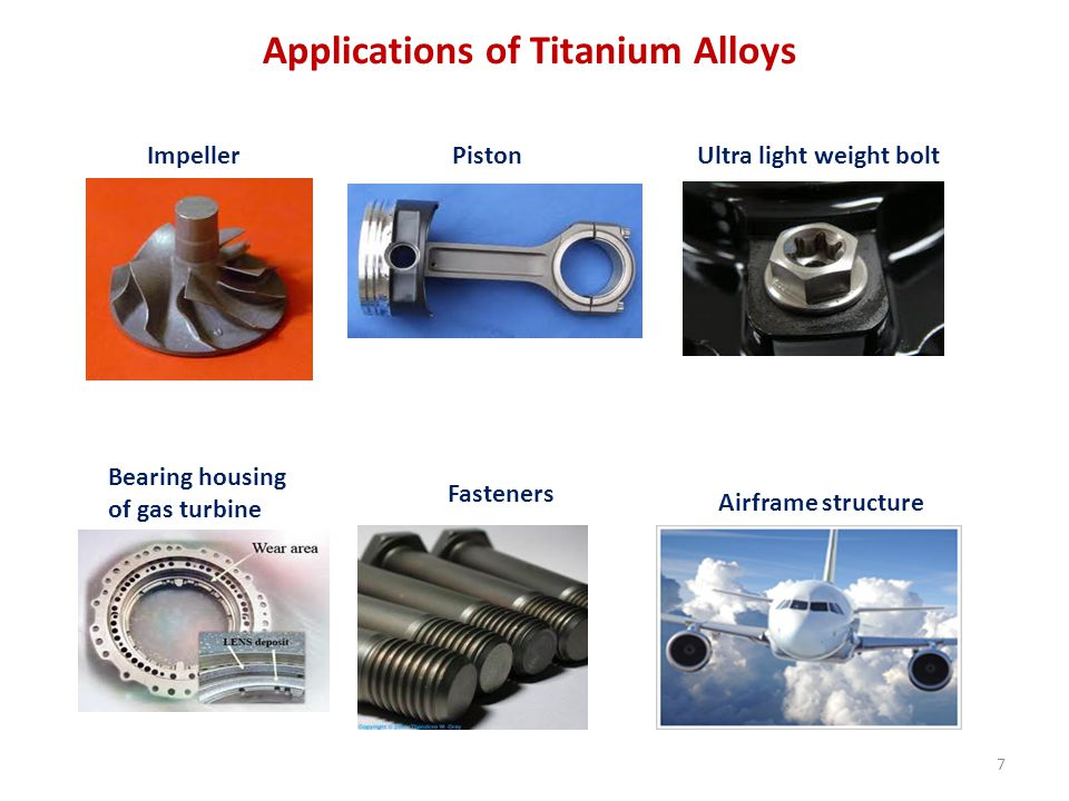 ImpellerPiston Ultra light weight bolt Bearing housing of gas turbine Fasteners Airframe structure Applications of Titanium Alloys 7